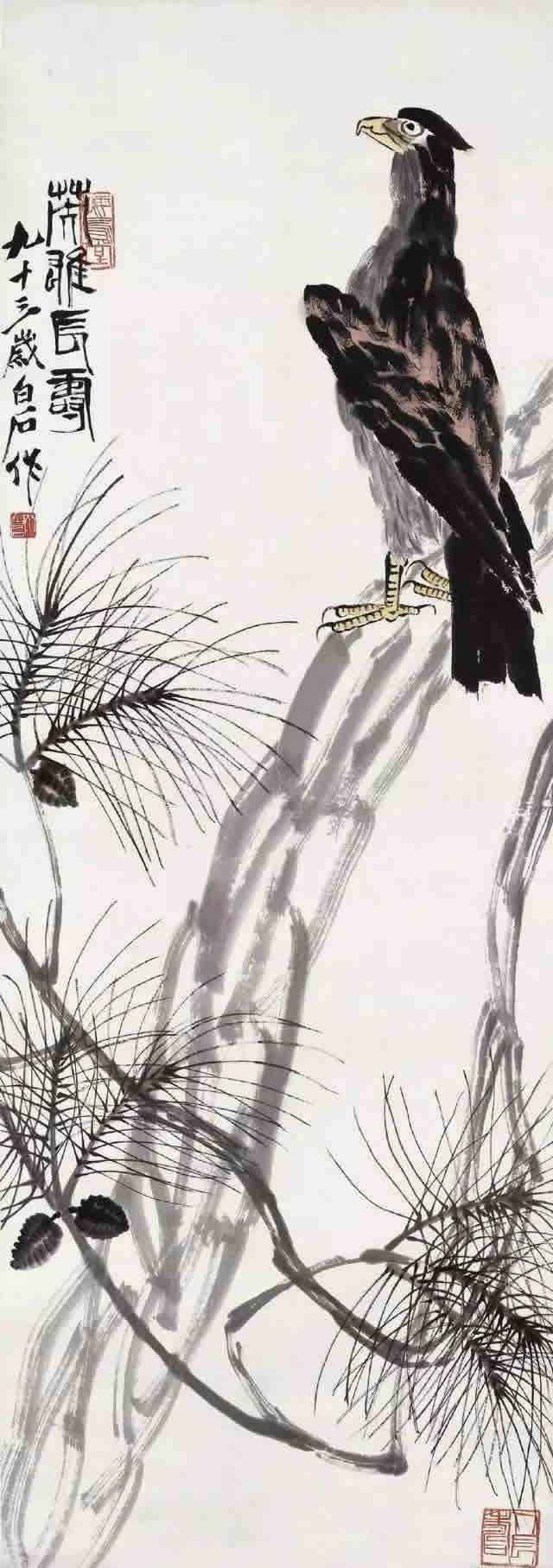 李苦禅画鹰_齐白石、李苦禅师徒二人画鹰,各有千秋!-名人字画网