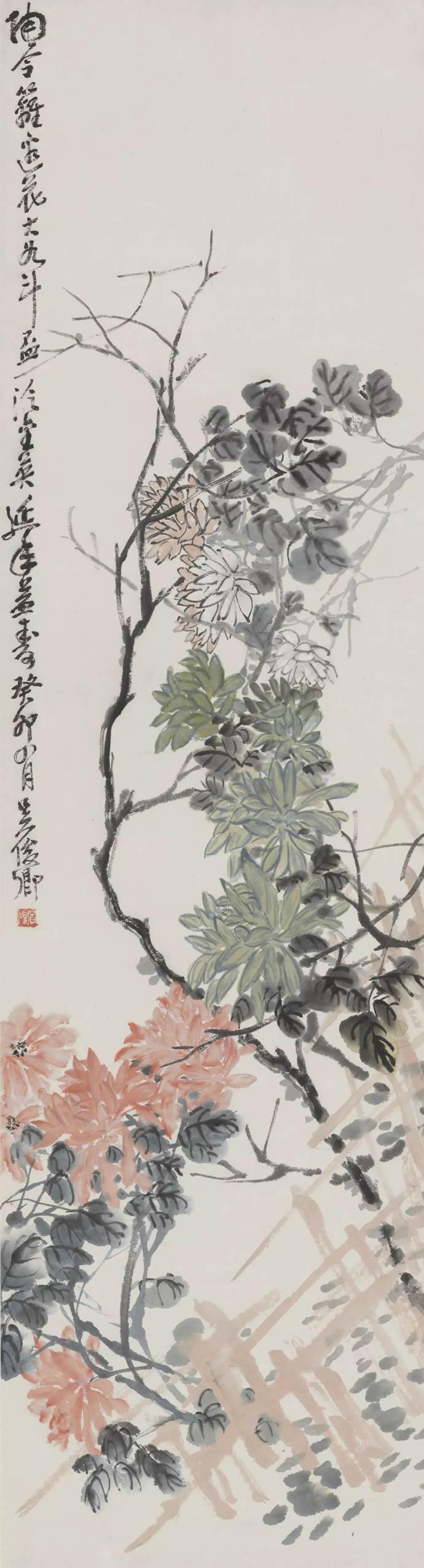 吴昌硕 篱菊图轴