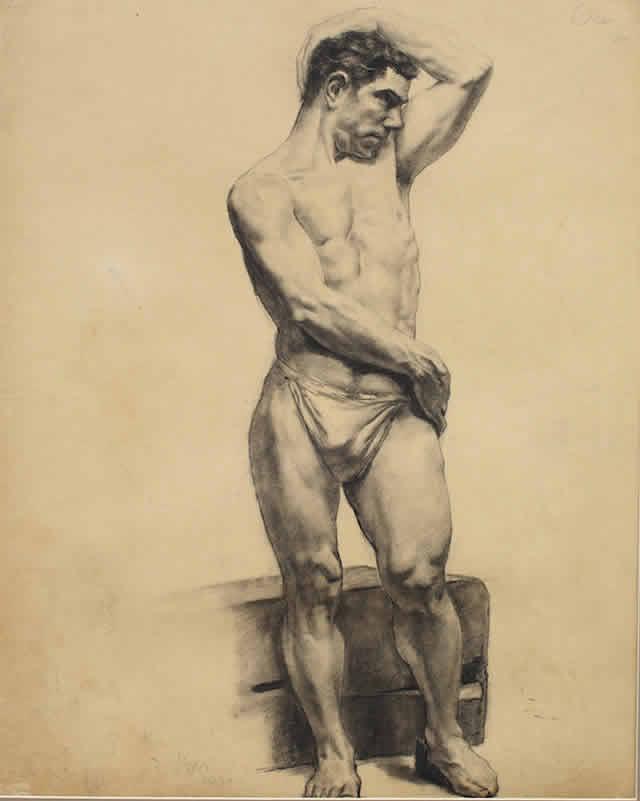 《男人体》,吴作人,素描,1930年