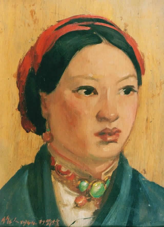 《打箭炉少女》,吴作人,油画,1944年