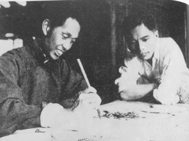 1942年 关山月和赵望云在成都
