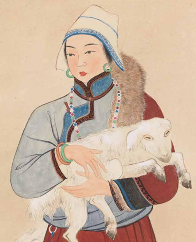 关山月 牧羊女局部