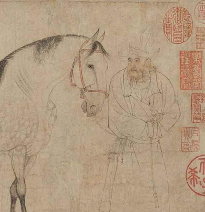 传东京国立博物馆公布的李公麟《五马图》局部
