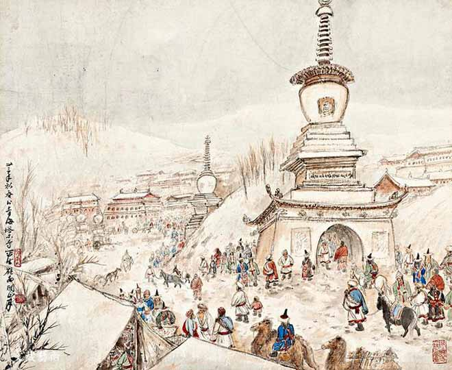 关山月《青海塔尔寺庙会》 作于1944年 关山月美术馆藏