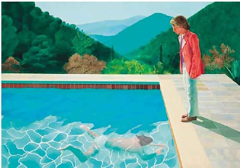 大卫·霍克尼 艺术家肖像(泳池与两个人像)
