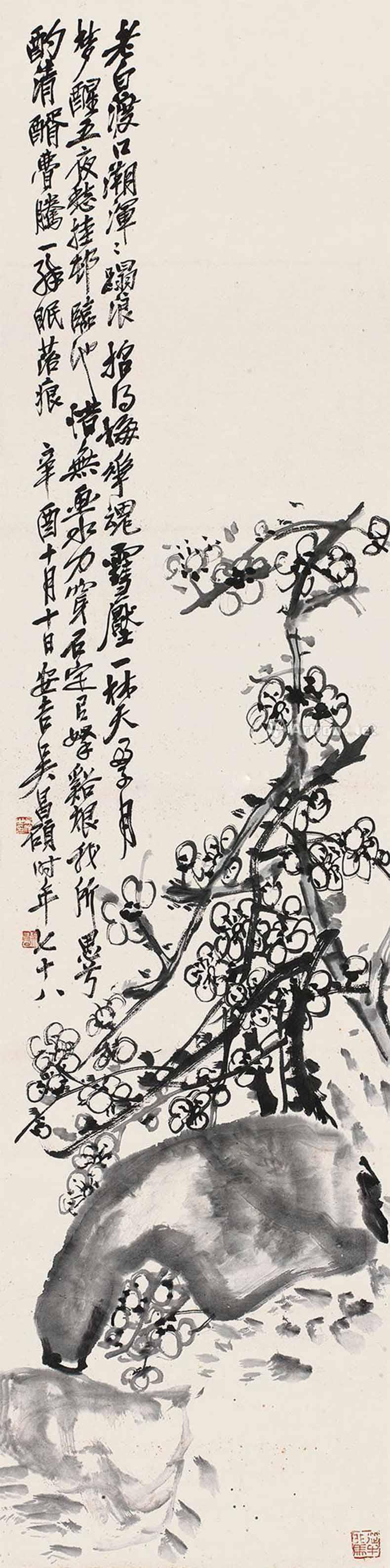 """梅花是吴昌硕绘画生涯中最爱画的题材之一,他自诩""""梅花性命诗精神"""".图片"""
