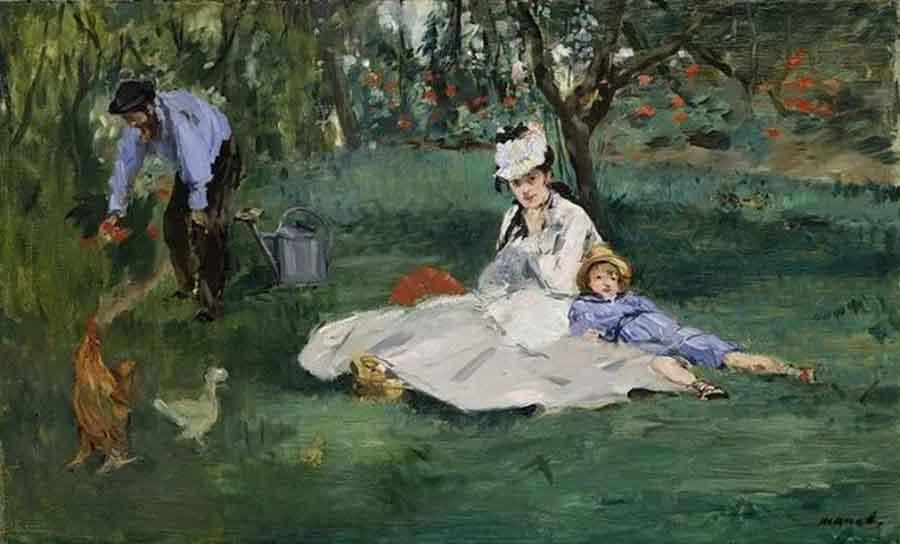 马奈《在莫奈的花园里》