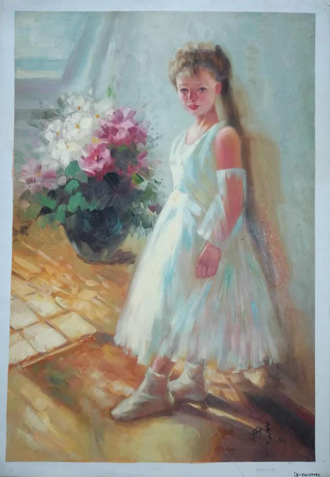 陈丹青油画作品《女孩与花卉》