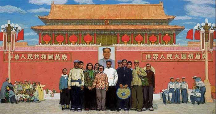 1968年-1974年作 《天安门前》油画