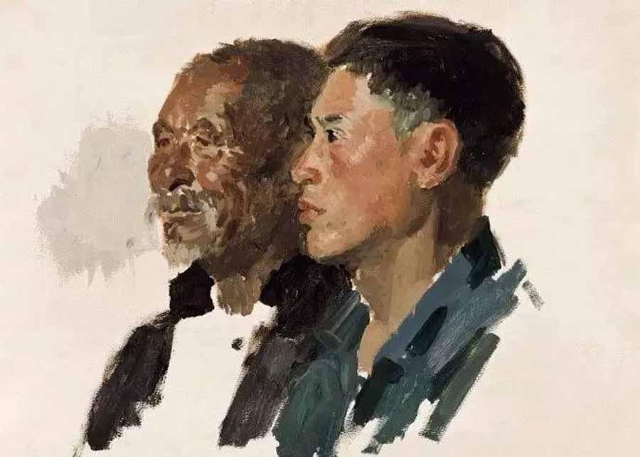 双人头像(未完成)纸板油画