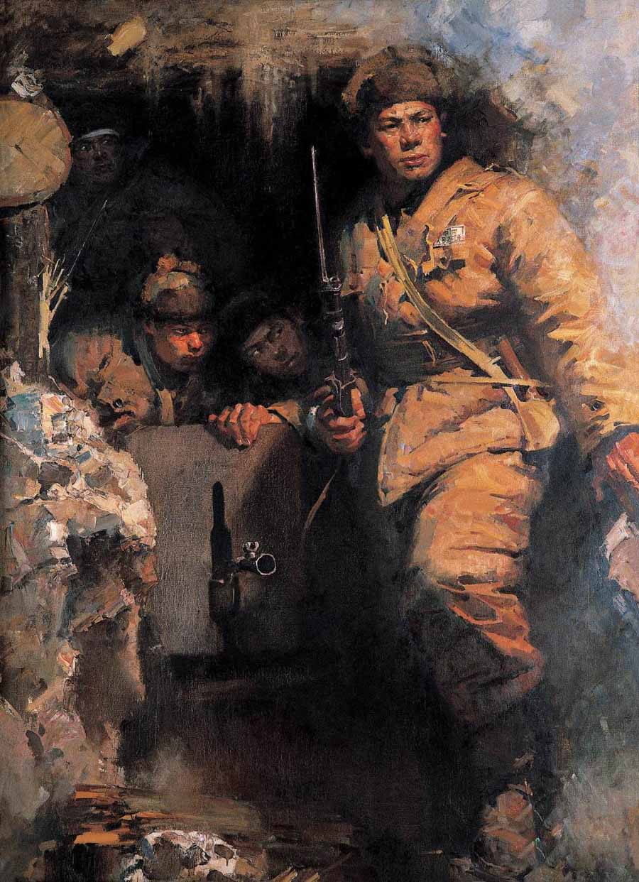 何孔德油画作品《出击之前》