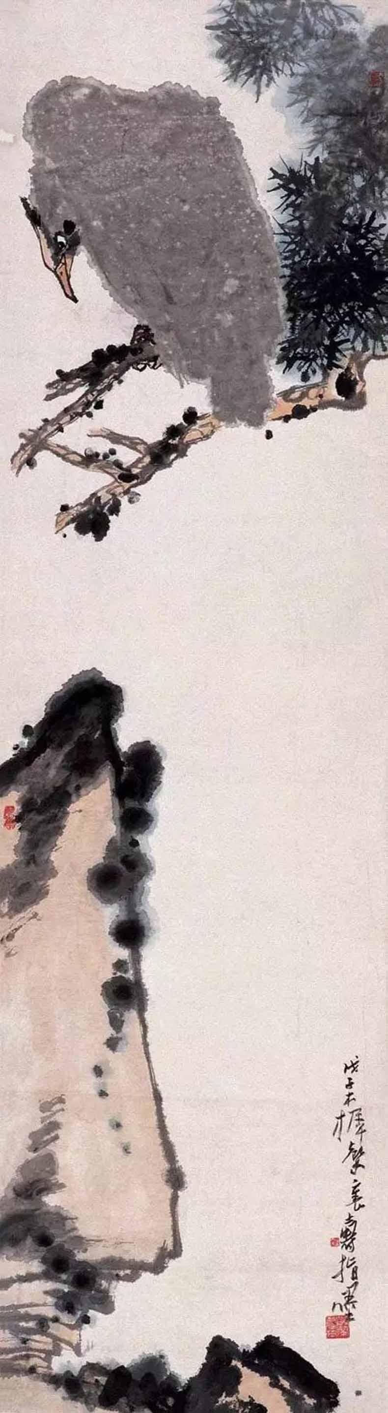 潘天寿 松鹰 1948年作 149×40.5cm 纸本水墨设色 中国美术馆藏
