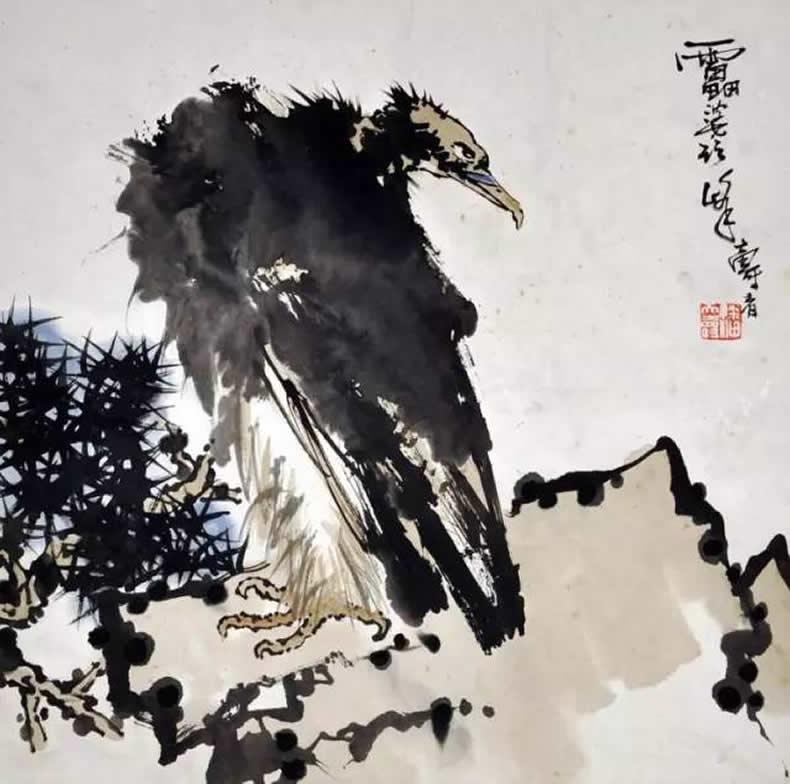 潘天寿 画鹰