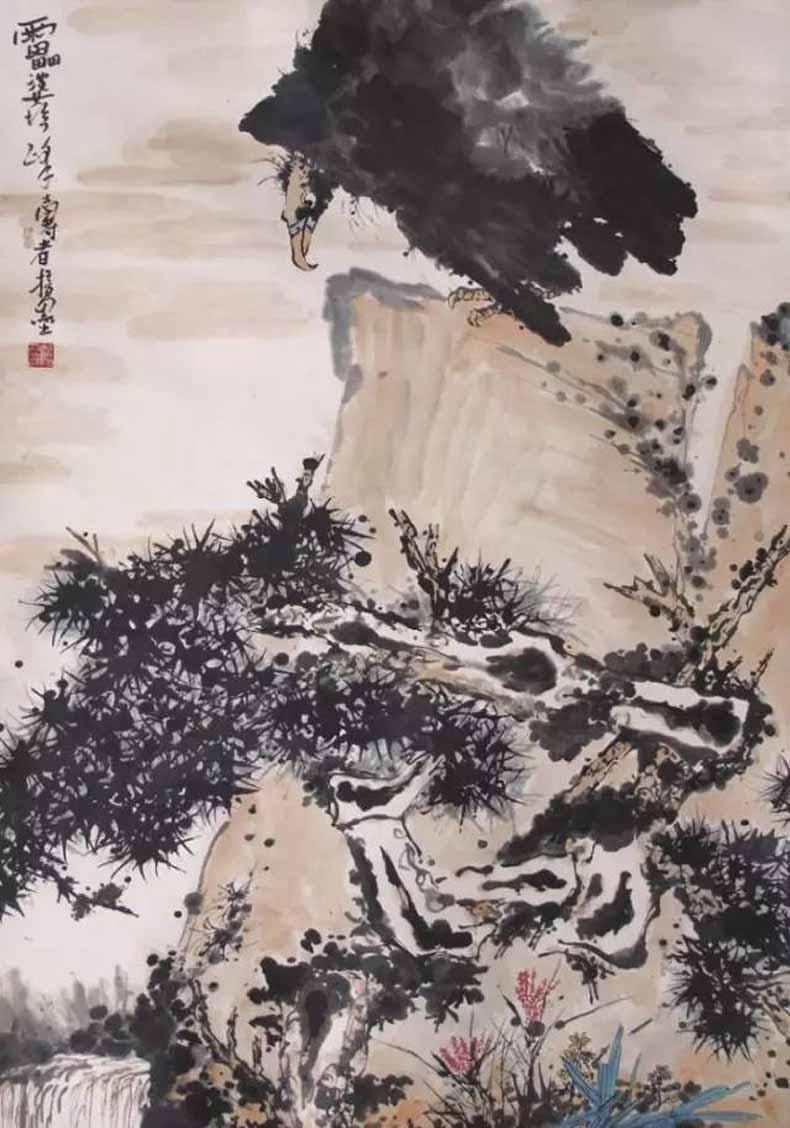 潘天寿 鹰石图