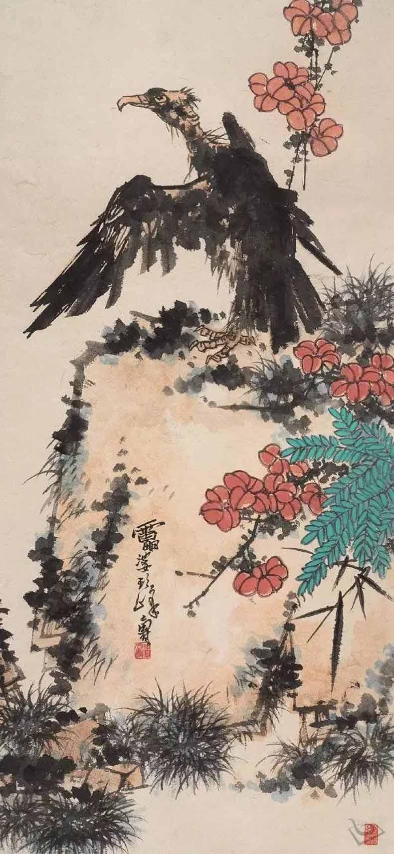 潘天寿 秃鹫 (拍品,同潘天寿纪念馆藏品)