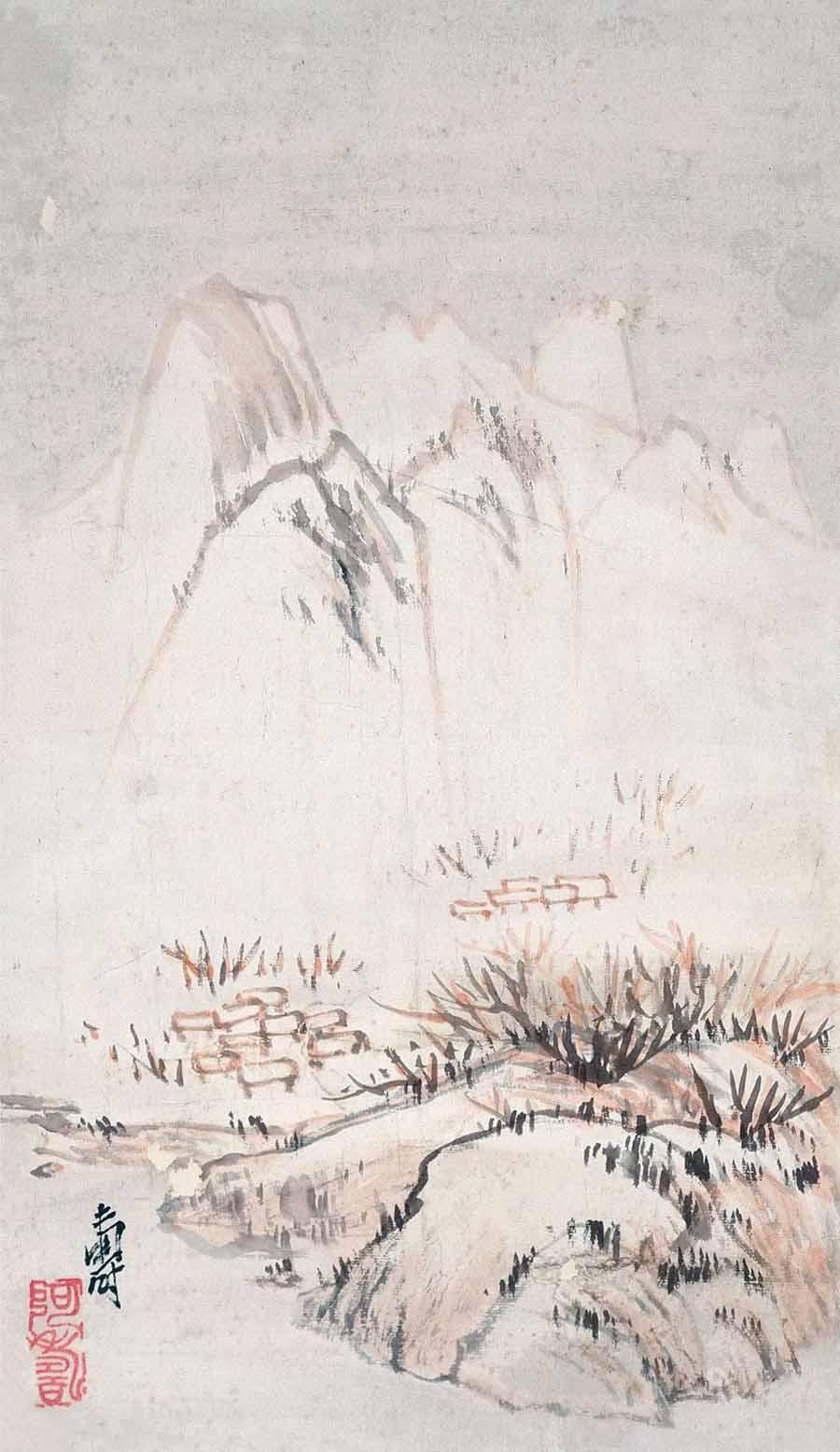 潘天寿 《雪景山水》66×35cm