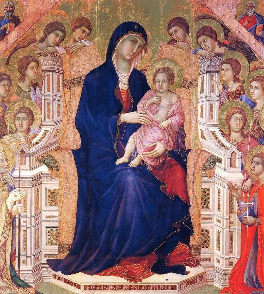 杜乔《圣母子荣登圣座》局部