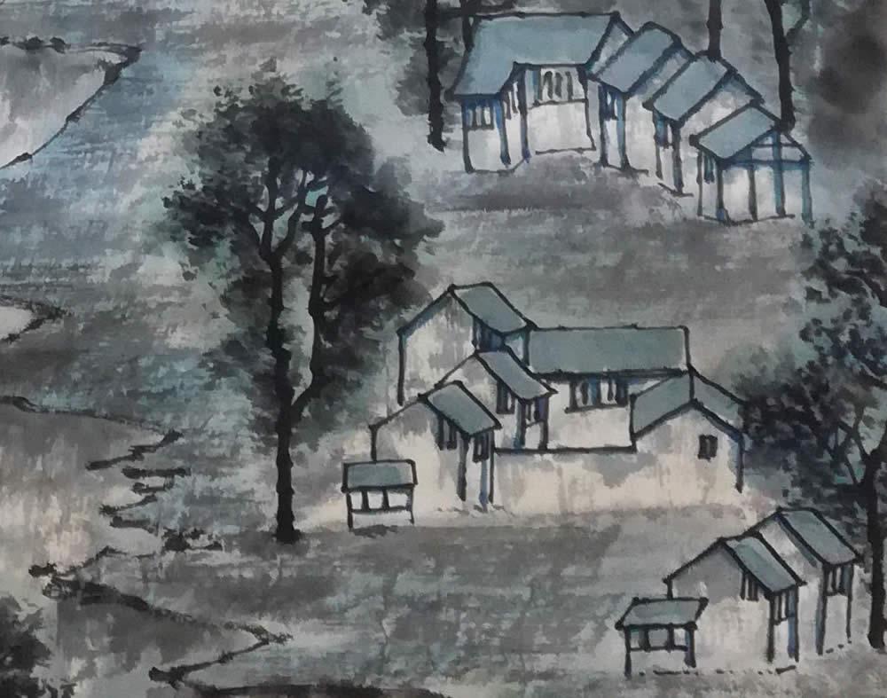 李可染作品,文革时期的青绿山水 局部
