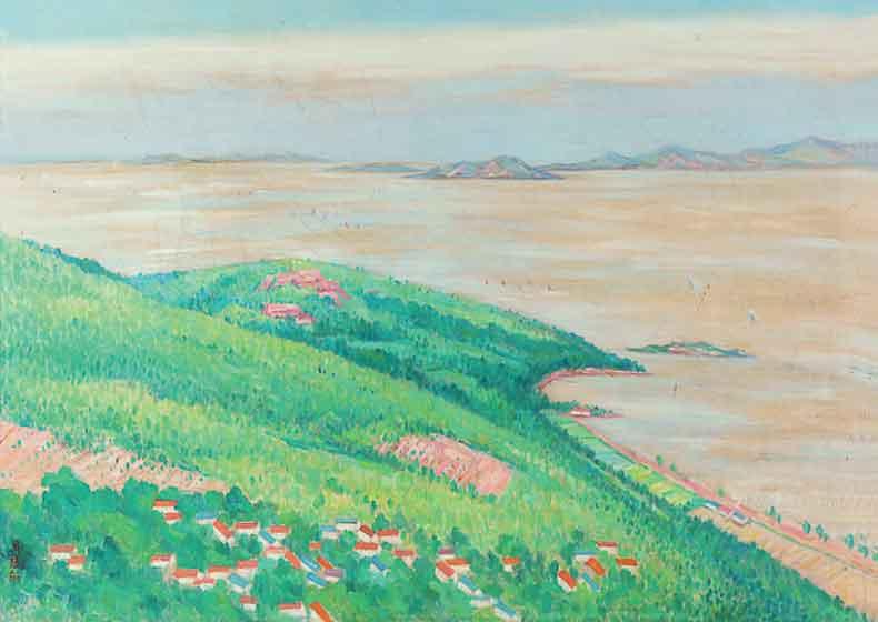 《俯瞰太湖》 油彩 画布 1976年 75×100cm