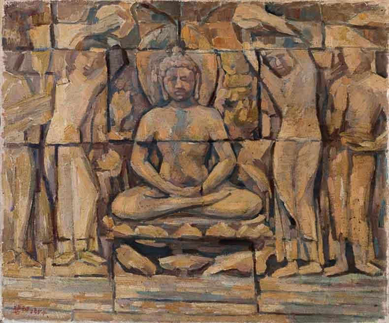 《佛塔浮雕》 油彩 画布 1954年 46×55cm