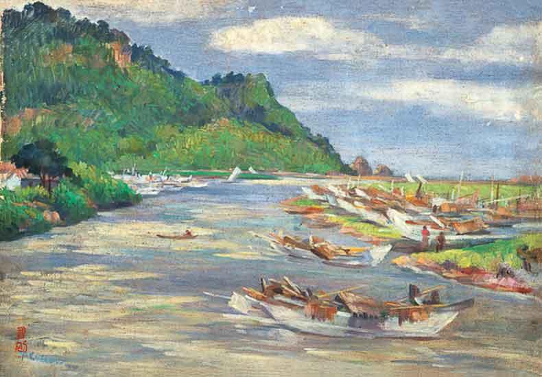 《渔港》 油彩 画布 1954年 38×55cm