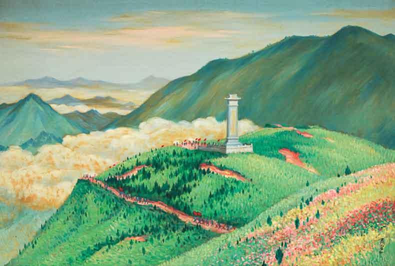 《井冈山黄洋界》 油彩 画布 1970年代 82×131cm