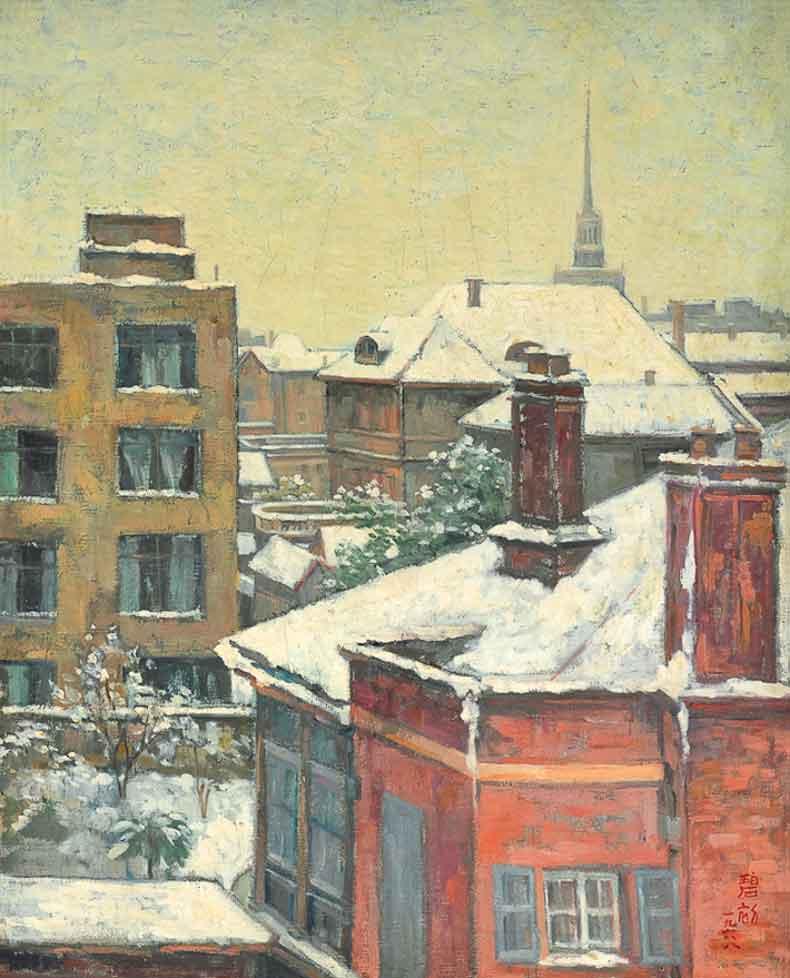 《雪景》油彩 画布1968年50×61cm
