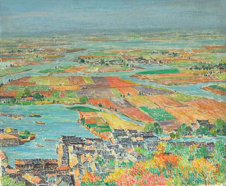 《常熟湖田》 油彩 画布 1962年 46×55cm