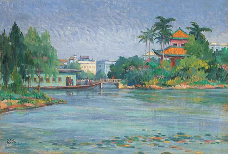 《人工湖一景》 油彩 画布 1961年 38×55cm