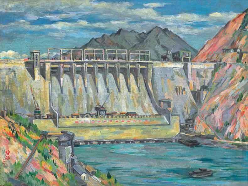 《新安江水电站》 油彩 画布 1963年 50×65cm