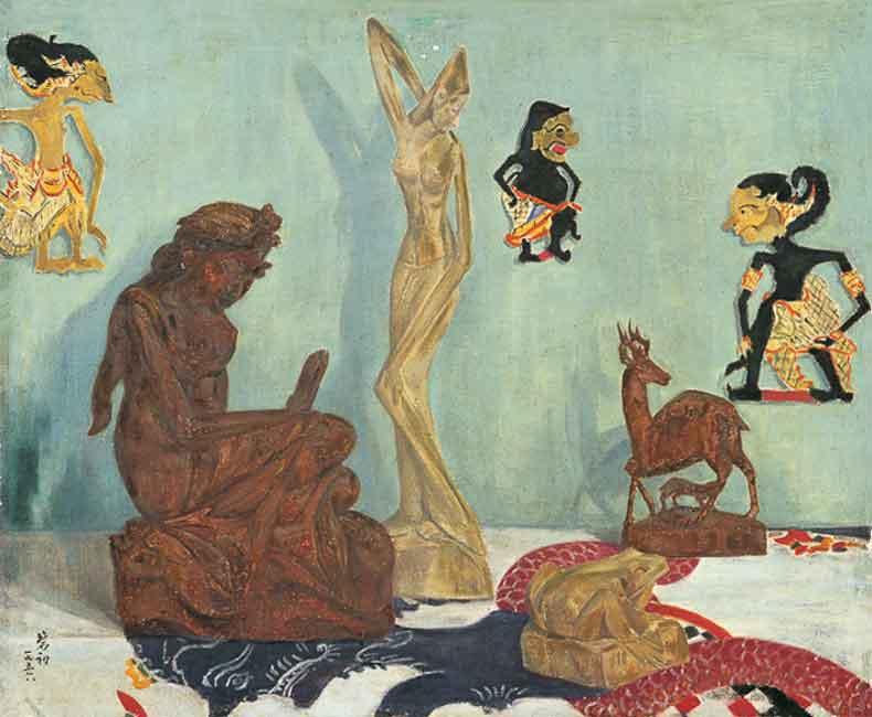 《印尼木雕》 油彩 画布 1956年 50×62cm