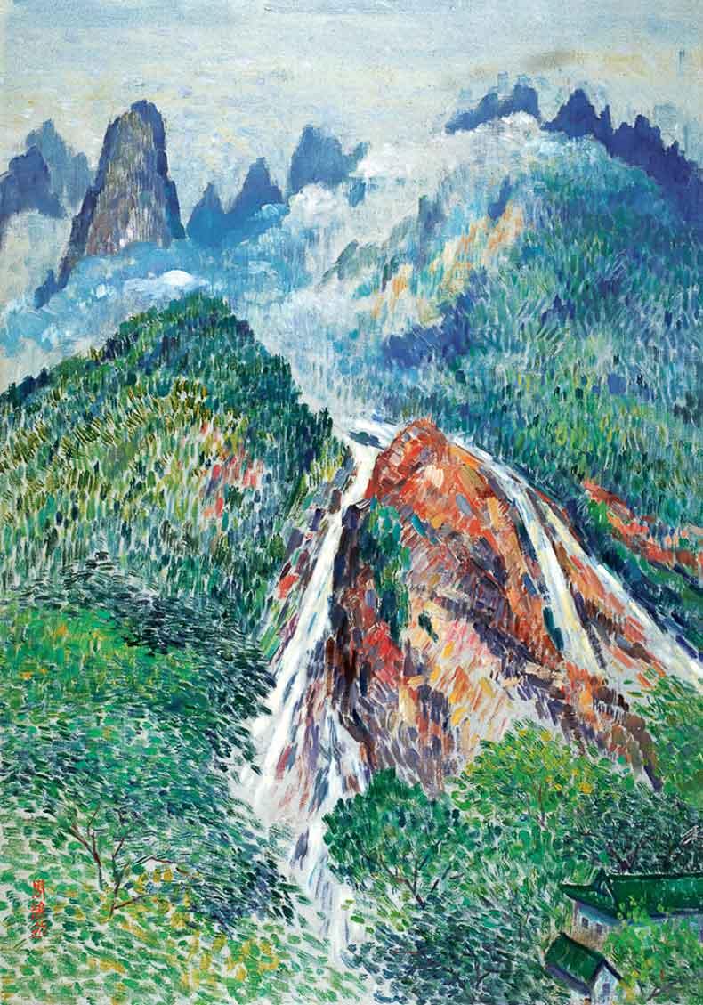 《黄山人字瀑》 油彩 画布 1982年 65×92cm