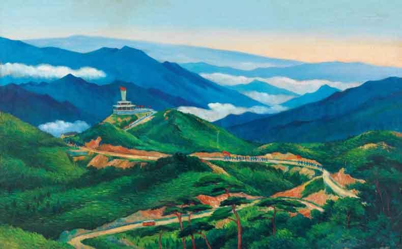 《黄洋界》 油彩 画布 1966年 82×131cm