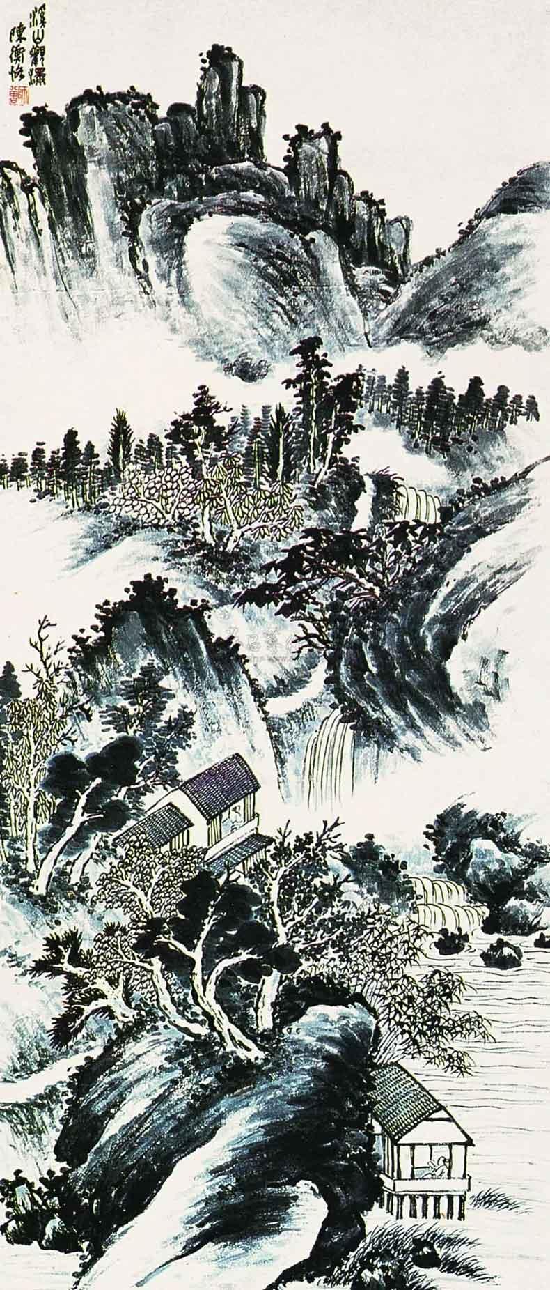 溪山观瀑 115.5×49cm