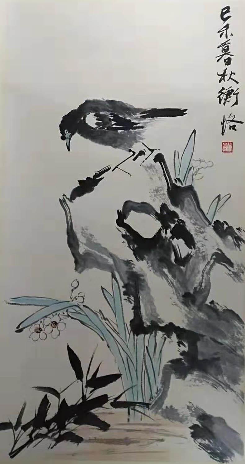 陈师曾作品《兰石栖禽图》赏析