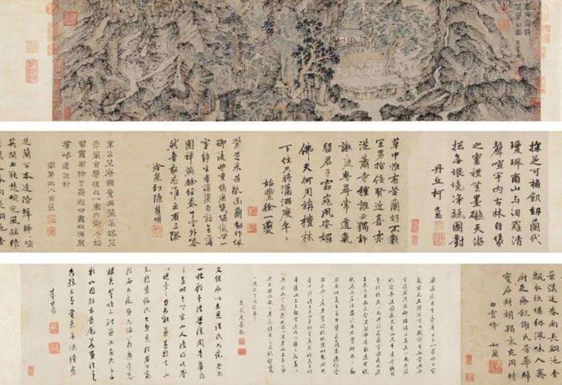 王蒙《芝兰室图》 画心25×103cm;题跋25×228cm
