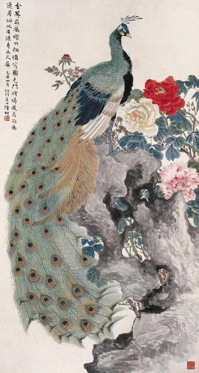1949年作 孔雀牡丹图