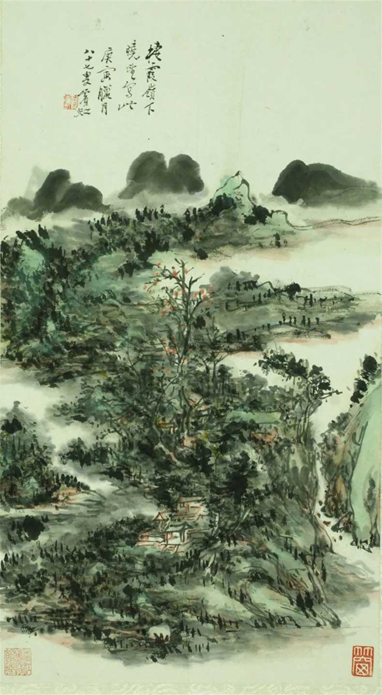 黄宾虹《栖霞岭晓望图轴》,1950