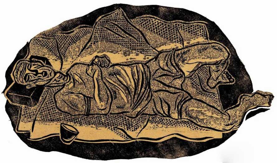 赖少其版画《饿》12.8×22cm