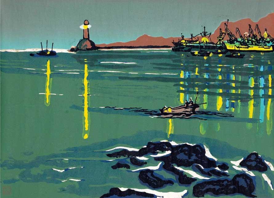 海港灯光 纸本 套色版画